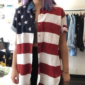 Vintage USA flag short sleeve button down shirt